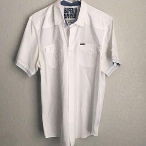 Men's white casual button down shirt